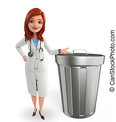 Young Doctor with dustbin - Illustration of Young Doctor...