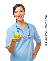 Young doctor with green apple