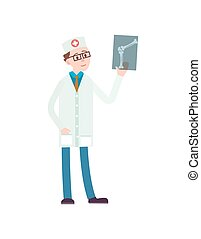 Young doctor with x-ray icon