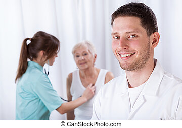 Young doctors during their job