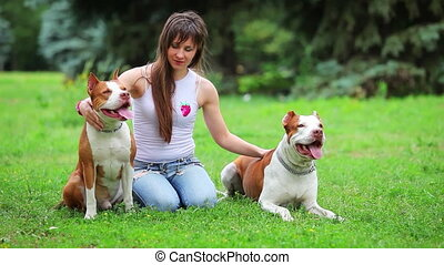 Young dog pit bull terrier - Woman with her beautiful dog ...