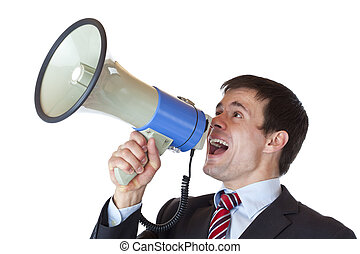Young dynamic businessman shouts into megaphone loudly