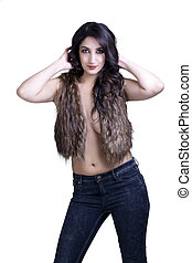 Young East Indian Woman Open Vest and Jeans