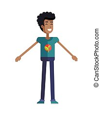 Young Ecologist Character Vector Illustration. - Smiling man...