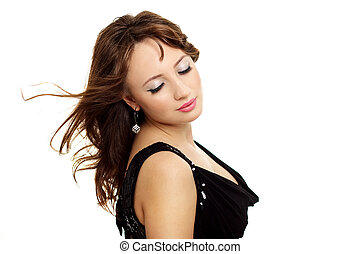 Young elegance woman with beauty hairs
