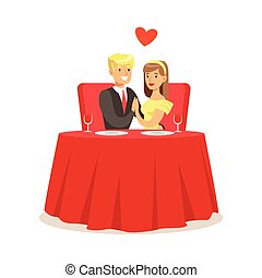 Young elegant couple sitting at table in a cafe holding hands colorful characters vector Illustration
