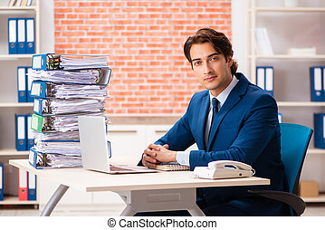 Young elegant man unhappy with too much work