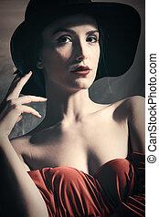 elegant woman portrait with hat