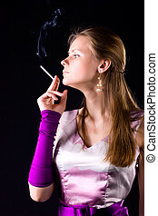 Young elegant woman with cigarette
