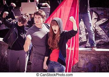 young emberek, tiltakozik