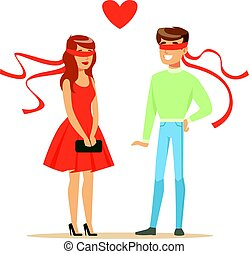 Young enamored man and woman blindfolded colorful character vector Illustration