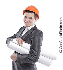 young engineer with drawings in orange helmet.isolated on white
