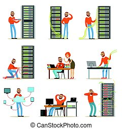 Young engineer working in network server room. Technician at the data center set of colorful Illustrations
