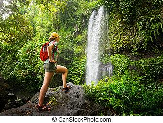 young eny, batůžkář, pohled, v, ta, vodopád, do, jungles.