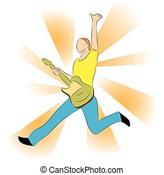 young eny, hraní, dále, electro, kytara, a, skákání