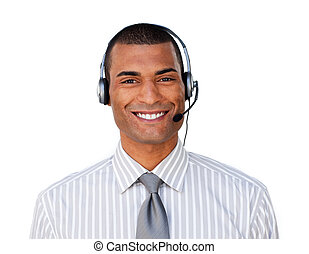 Young ethnic customer service agent with headset on
