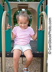 Young Ethnic Girl on Playground