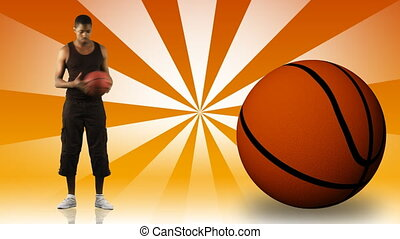Young ethnic man playing basketball