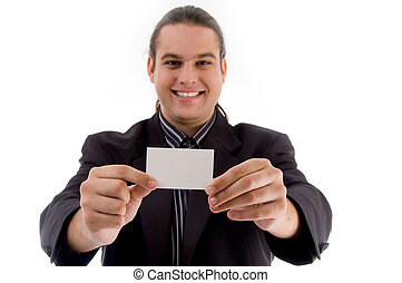 young executive posing with business card