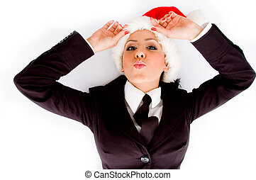 young executive wearing christmas hat