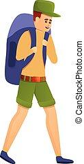 Young explorer icon, cartoon style