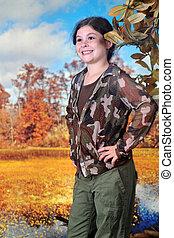 Young Explorer in Autumn Wetlands