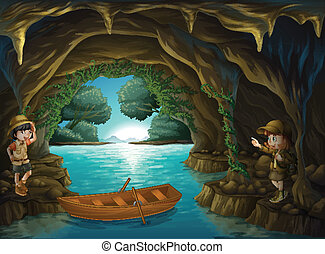 Young explorers inside the cave - Illustration of the young...