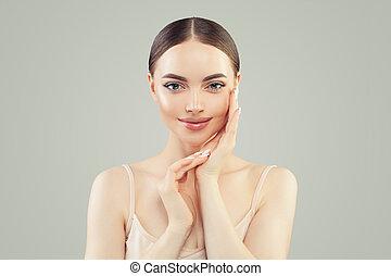 Young face. Beautiful woman portrait