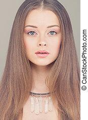 Young Face. Portrait Beautiful Fashion Woman