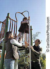 Young family at a playground