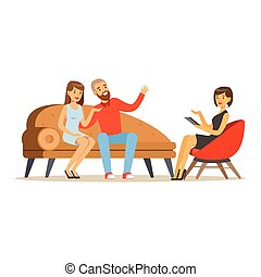 Young family couple characters talking to female psychologist about their problems, psychotherapy counseling, psychologist having session with patient vector Illustration