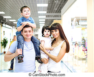 Young family doing shopping