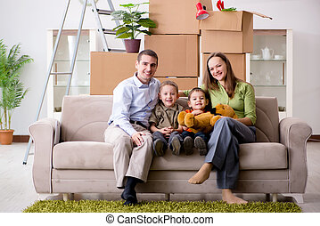 Young family enjoying time at home
