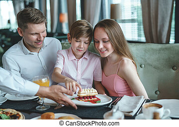 Young family in a restaurant