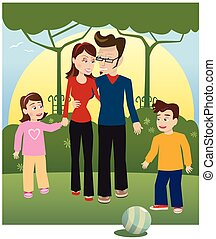 Young family in park.eps