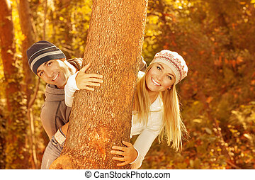Young family in the wood