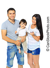 Young family isolated on white