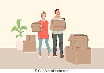 Young family, rearrangement, moving to new house, cohabitation concept. Happy, joyful girl, boy in love together move into a new apartment. Smiling couple man, woman couple delight. Simple flat vector