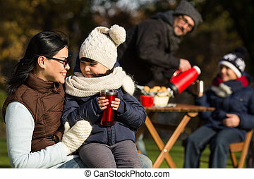 Young family on a picnic