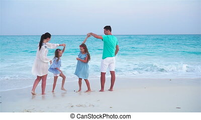 Young family on vacation have a lot of fun