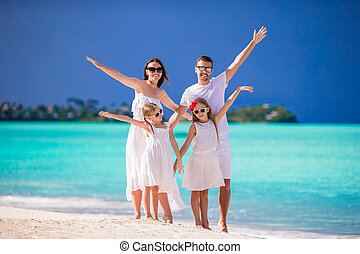 Young family on vacation have fun
