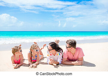 Young family on vacation having fun