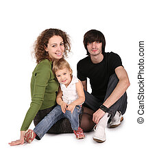 young family on white