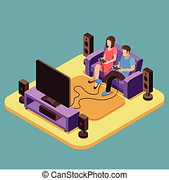 Young family playing video game at home. Vector 3D isometric