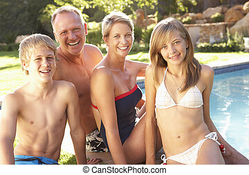 Young Family Relaxing By Pool In Garden