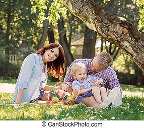 Young family relaxing on a picnic