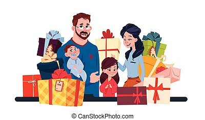 Young Family Together With Present Boxes On White Background, Parents And Children Holding Holiday Gifts Concept