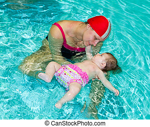 Young family with baby in pool