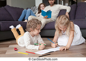 Young family with children spending free time together