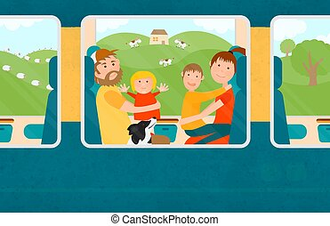 Young Family with Children Traveling Together by Train.
